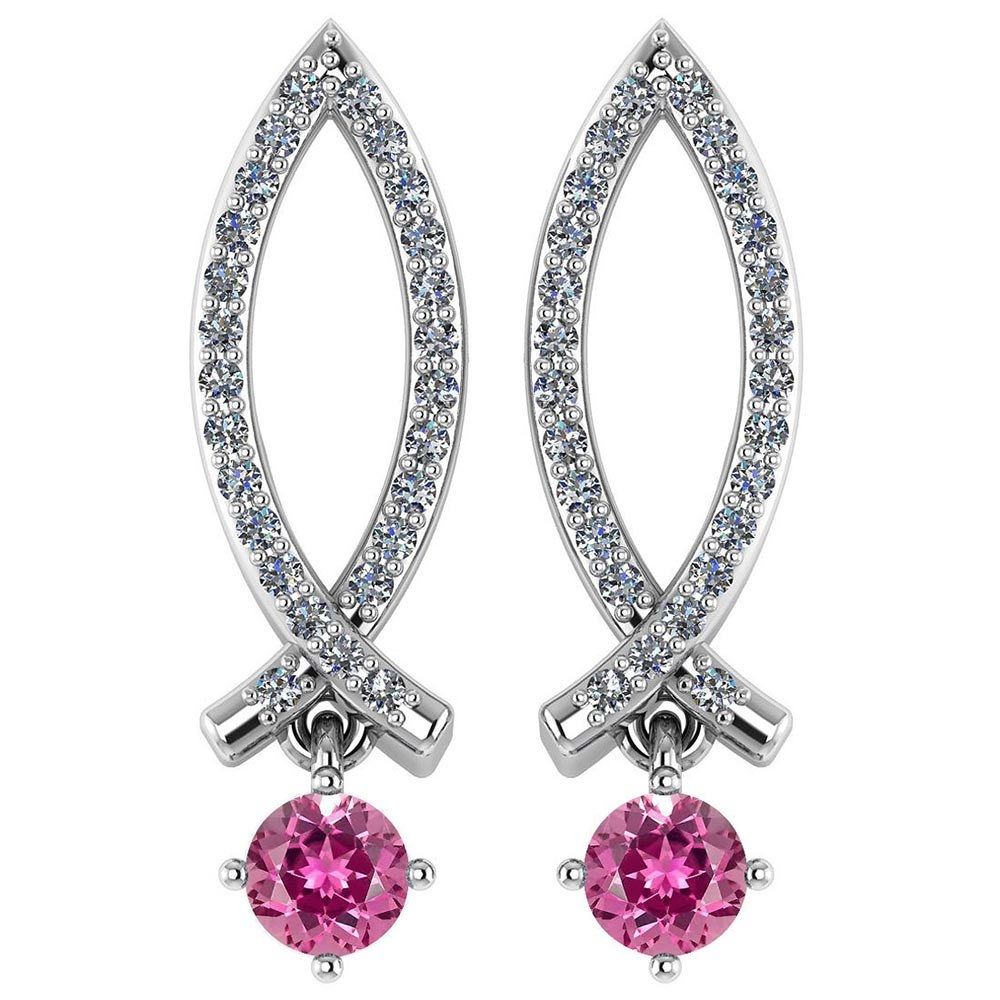 Certified .72 Ctw Genuine Pink Tourmaline And Diamond 14k White Gold Earrings #PAPPS94526