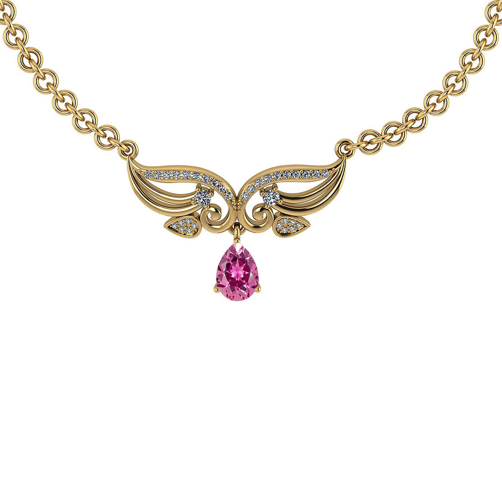 Certified 3.94 CTW Genuine Pink Tourmaline And Diamond 14k Yellow Necklace #PAPPS93623