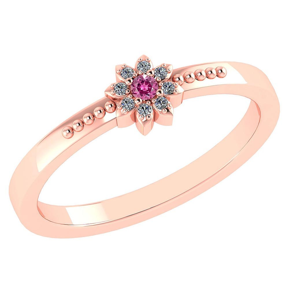 Certified .07 Ctw Genuine Pink Tourmaline And Diamond 14k Rose Gold Halo Ring #PAPPS94439