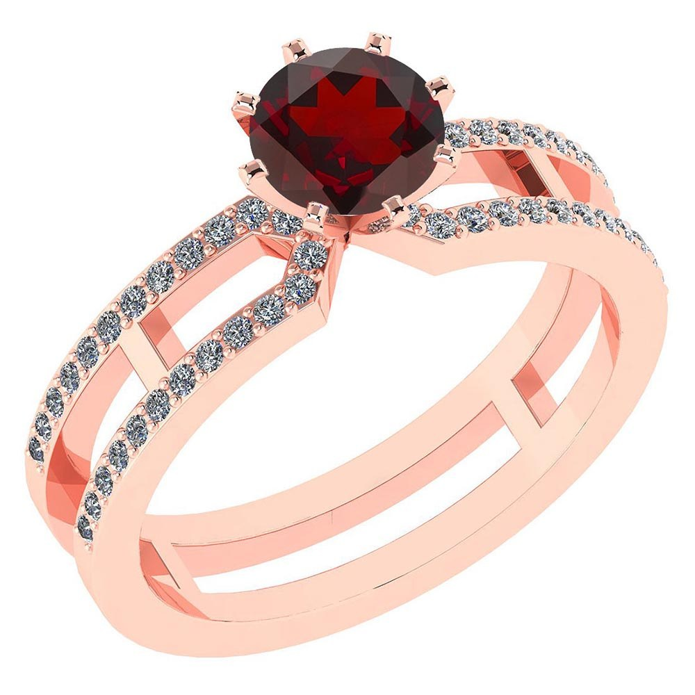 Certified 1.32 Ctw Genuine Garnet And Diamond 14k Rose Gold Engagement Ring #PAPPS94646