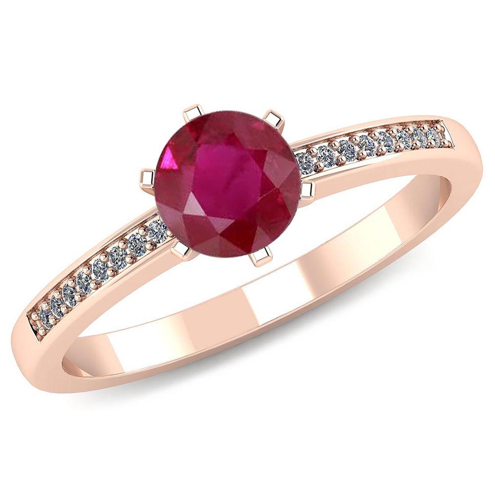 Certified 1.00 CTW Genuine Ruby And Diamond 14K Rose Gold Ring #PAPPS91446