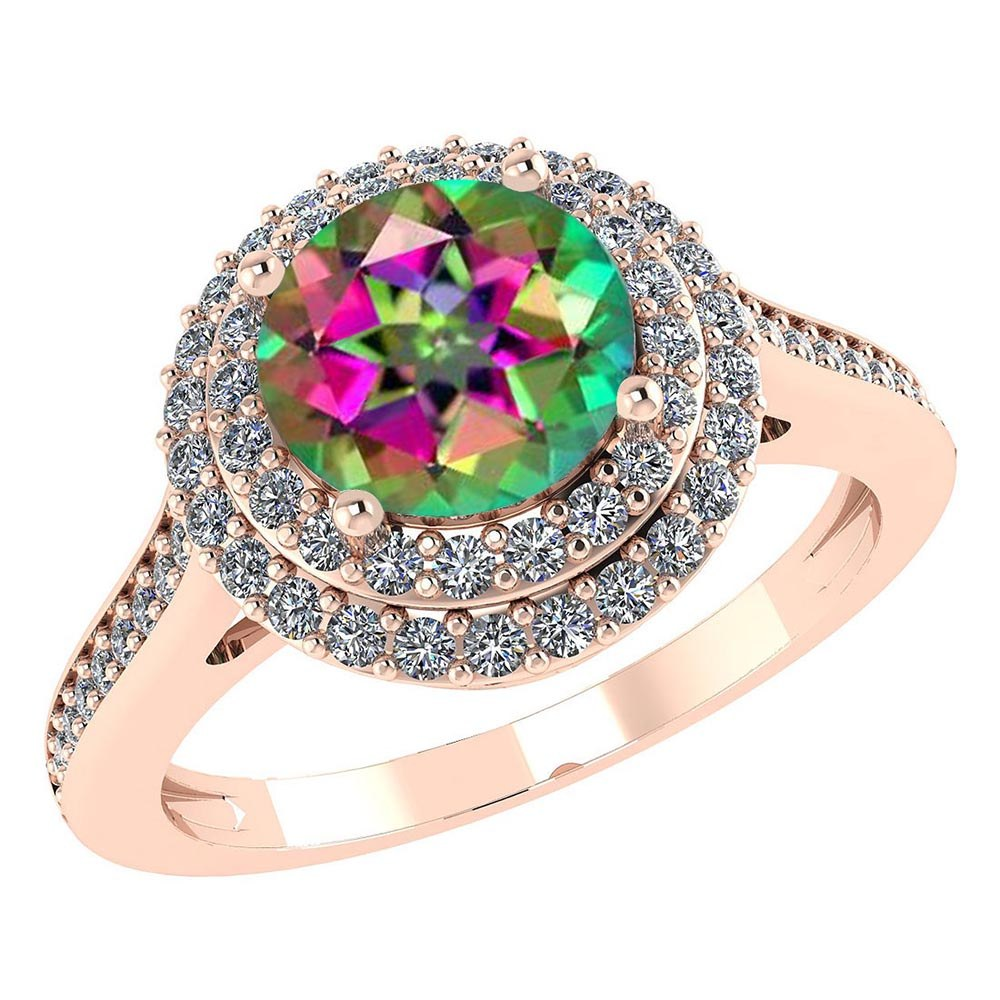 Certified 2.42 CTW Genuine Mystic Topaz And Diamond 14K Rose Gold Ring #PAPPS91518