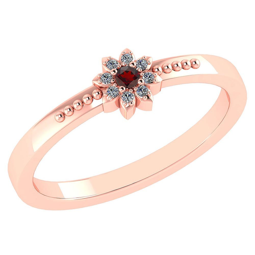 Certified .07 Ctw Genuine Garnet And Diamond 14k Rose Gold Halo Ring #PAPPS94448