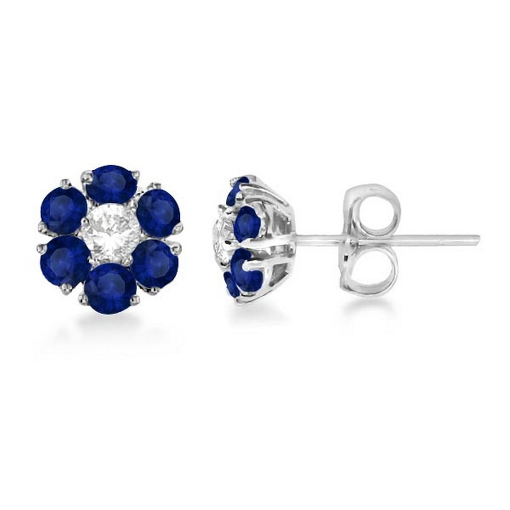 Diamond and Sapphire Flower Cluster Earrings 14K White Gold (1.91ctw) #PAPPS21194