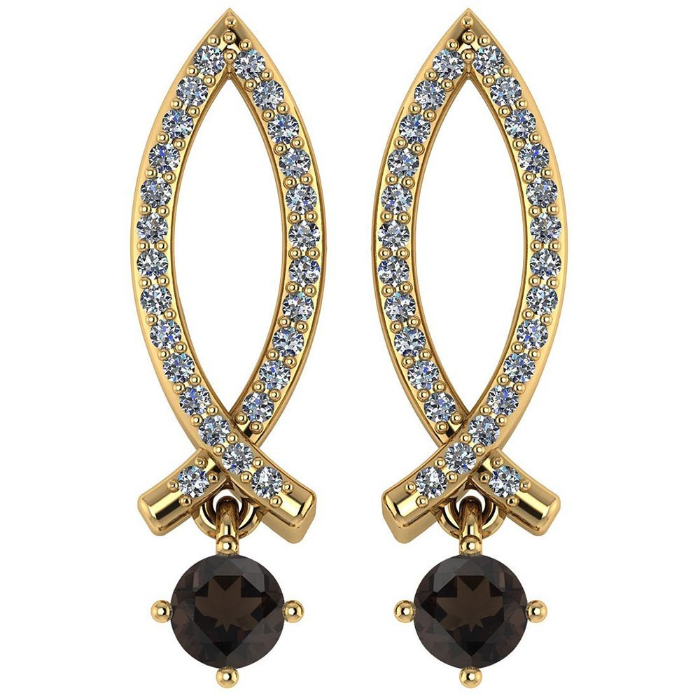 Certified .72 Ctw Genuine Smoky Quartz And Diamond 14k Yellow Gold Earrings #PAPPS94556