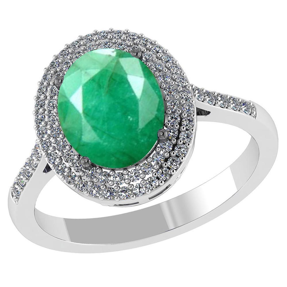 Certified 3.2 CTW Genuine Emerald And Diamond 14K White Gold Ring #PAPPS91502