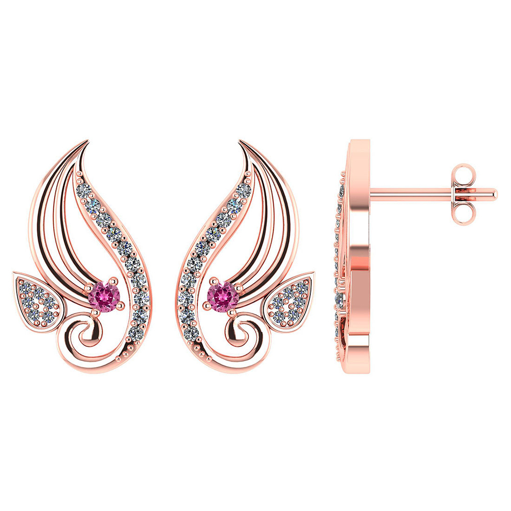 Certified .26 CTW Genuine Pink Tourmaline And Diamond 14K Rose Gold Stud Earrings #PAPPS93582