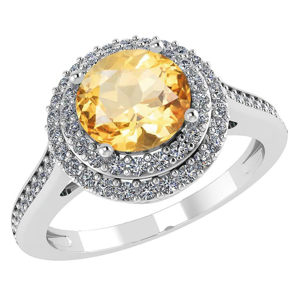 Certified 2.52 CTW Genuine Citrine And Diamond 14K White Gold Ring #PAPPS91530