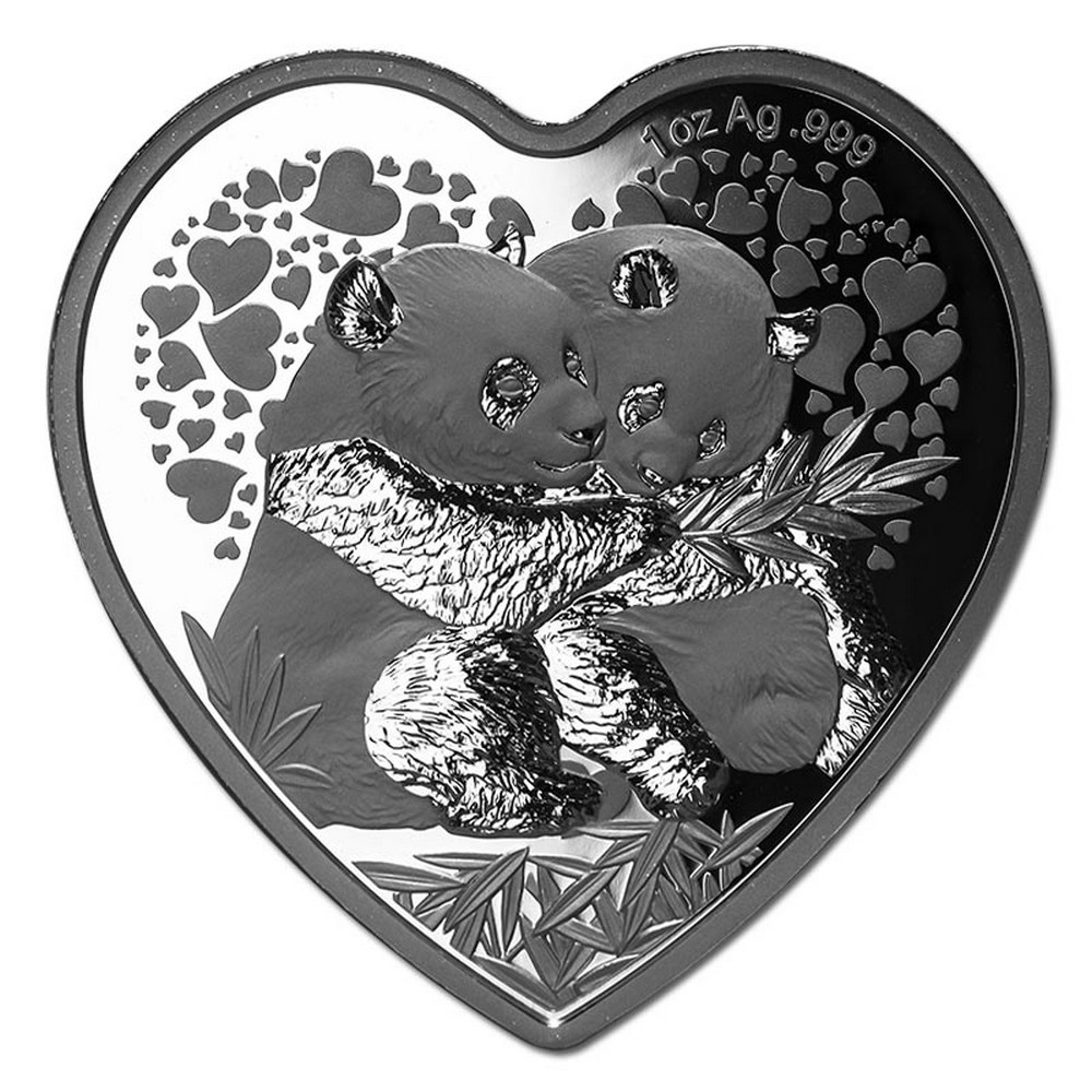 China 2018 1 oz Silver Valentine Panda Heart Coin #PAPPS84473