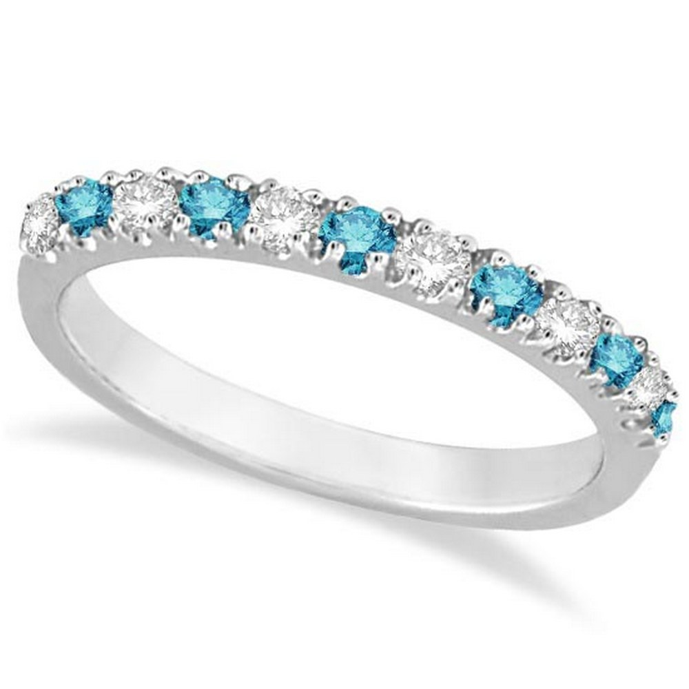 Blue and White Diamond Stackable Ring Band 14k White Gold (0.25ct) #PAPPS21283