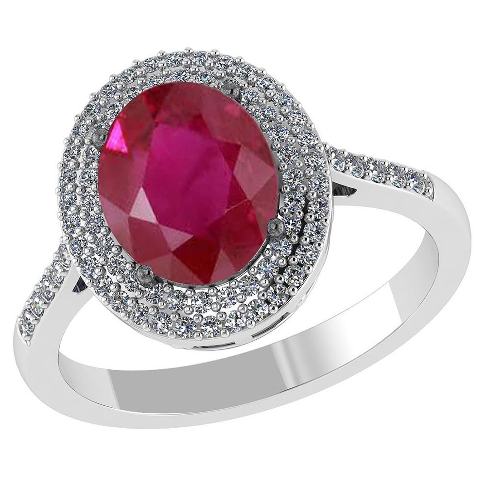 Certified 2.92 CTW Genuine Ruby And Diamond 14K WGold Ring #PAPPS91501