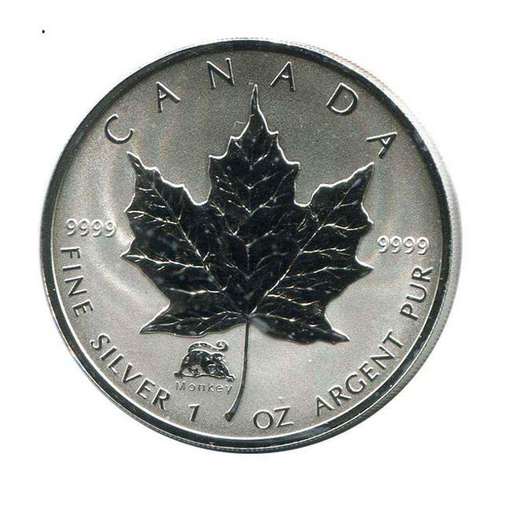 2004 Canada 1 oz. Silver Maple Leaf Reverse Proof Monkey Privy Mark #PAPPS84465