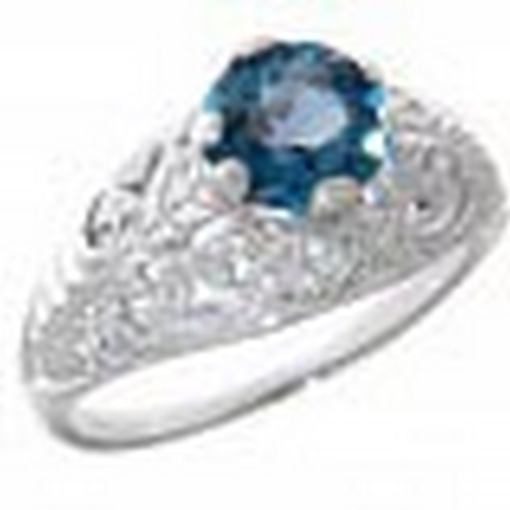 Victorian Style Genuine London Blue Topaz Solitaire Filigree Ring 14kt White Gold #PAPPS11384