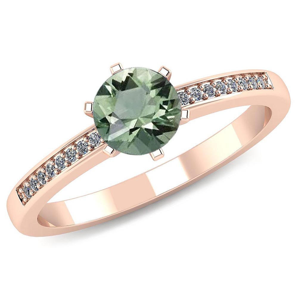 Certified 1.00 CTW Genuine Green Amethyst And Diamond 14K Rose Gold Ring #PAPPS91455