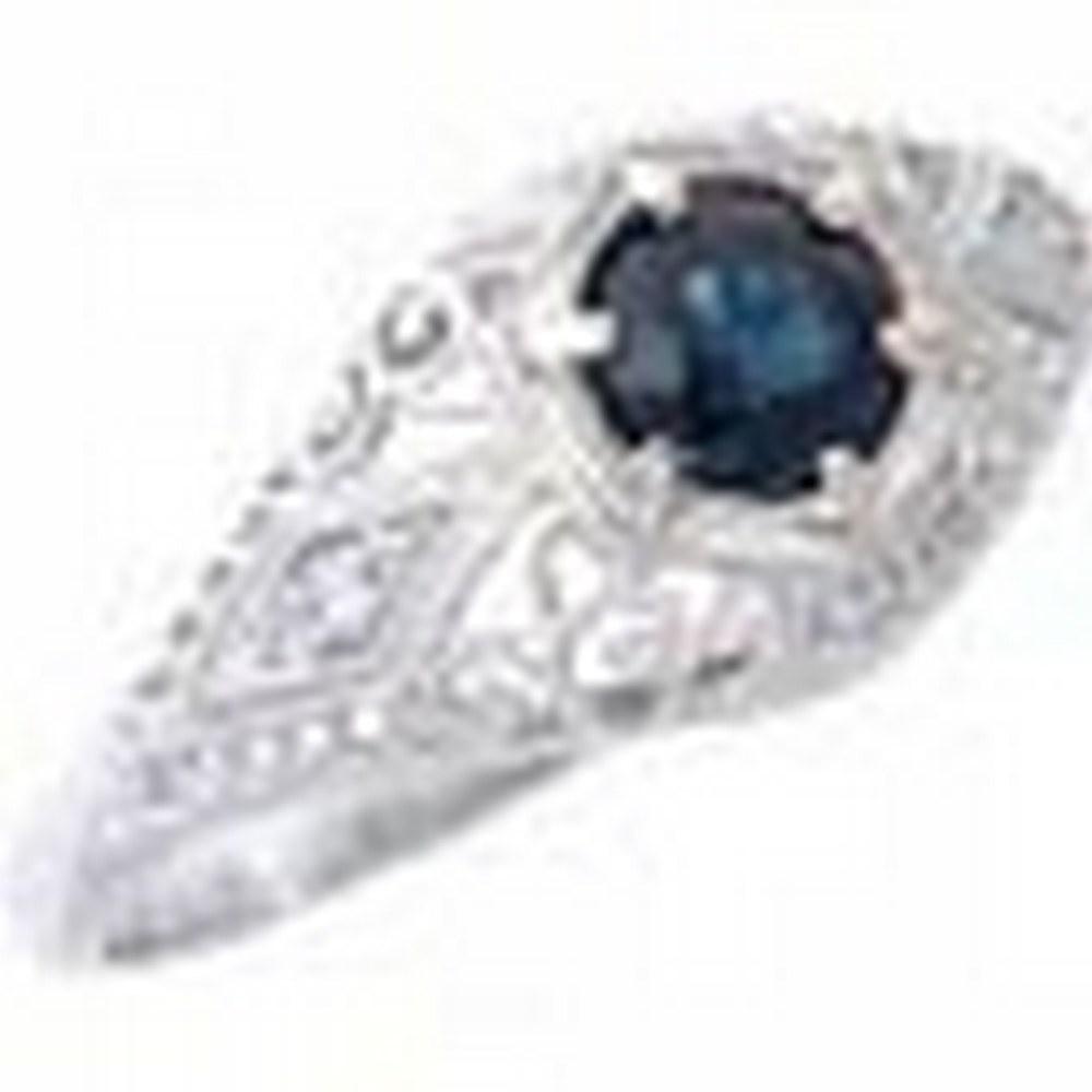 Blue Sapphire Art Deco Diamond Filigree Ring - 14kt White Gold #PAPPS11356