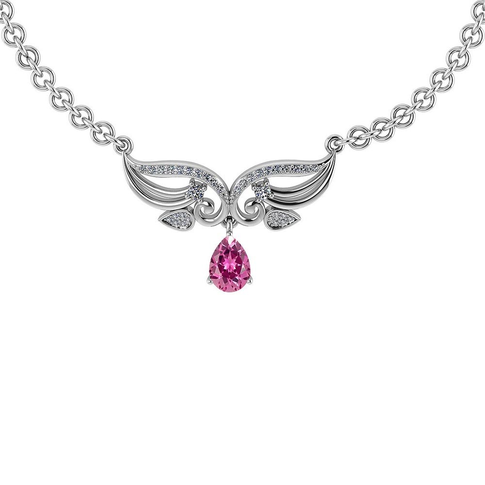 Certified 3.94 Ctw Genuine Pink Tourmaline And Diamond 14k White Princess Necklace #PAPPS94615
