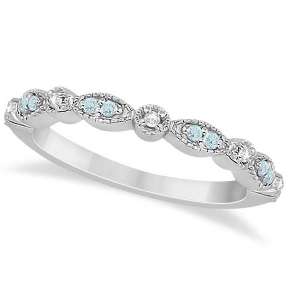 Marquise and Dot Aquamarine Diamond Wedding Band 14k White Gold 0.25ct #PAPPS21228