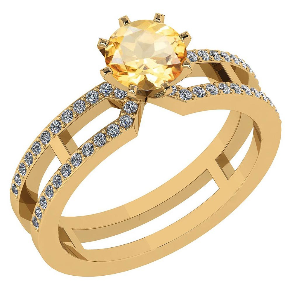 Certified 1.32 Ctw Genuine Citrine And Diamond 14k Yellow Gold Engagement Ring #PAPPS94633