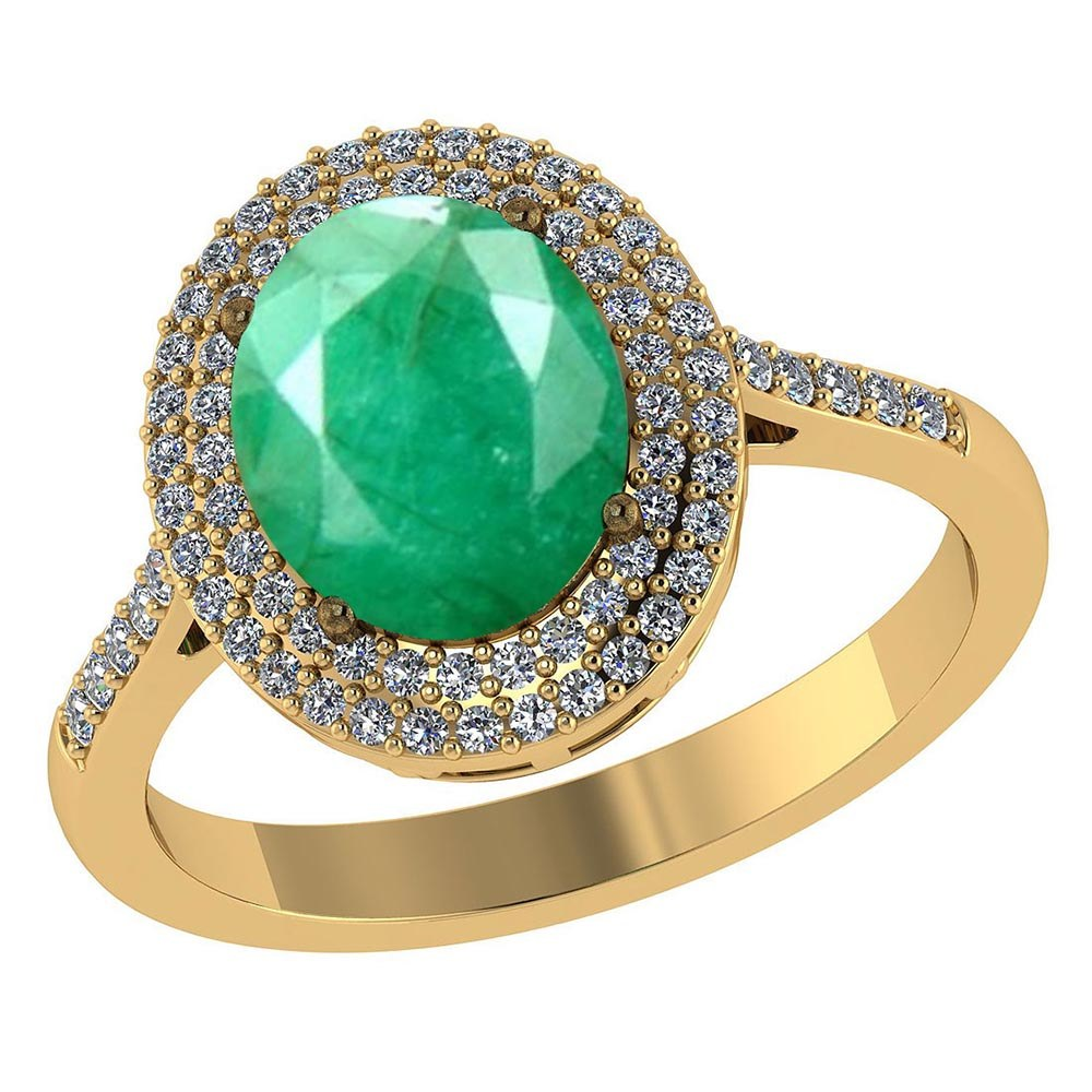Certified 3.2 CTW Genuine Emerald And Diamond 14K Yellow Gold Ring #PAPPS91491