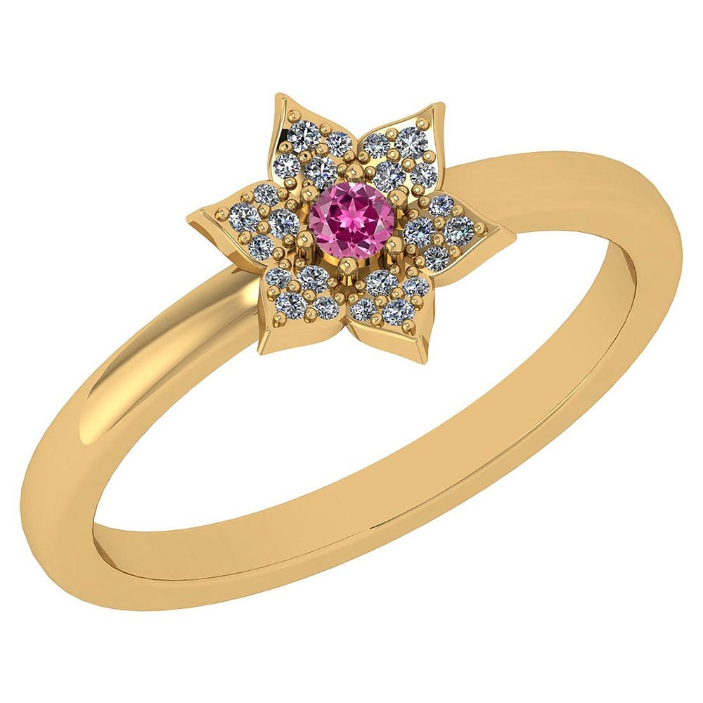 Certified .39 Ctw Genuine Pink Tourmaline And Diamond 14k Yellow Gold Halo Ring #PAPPS94483