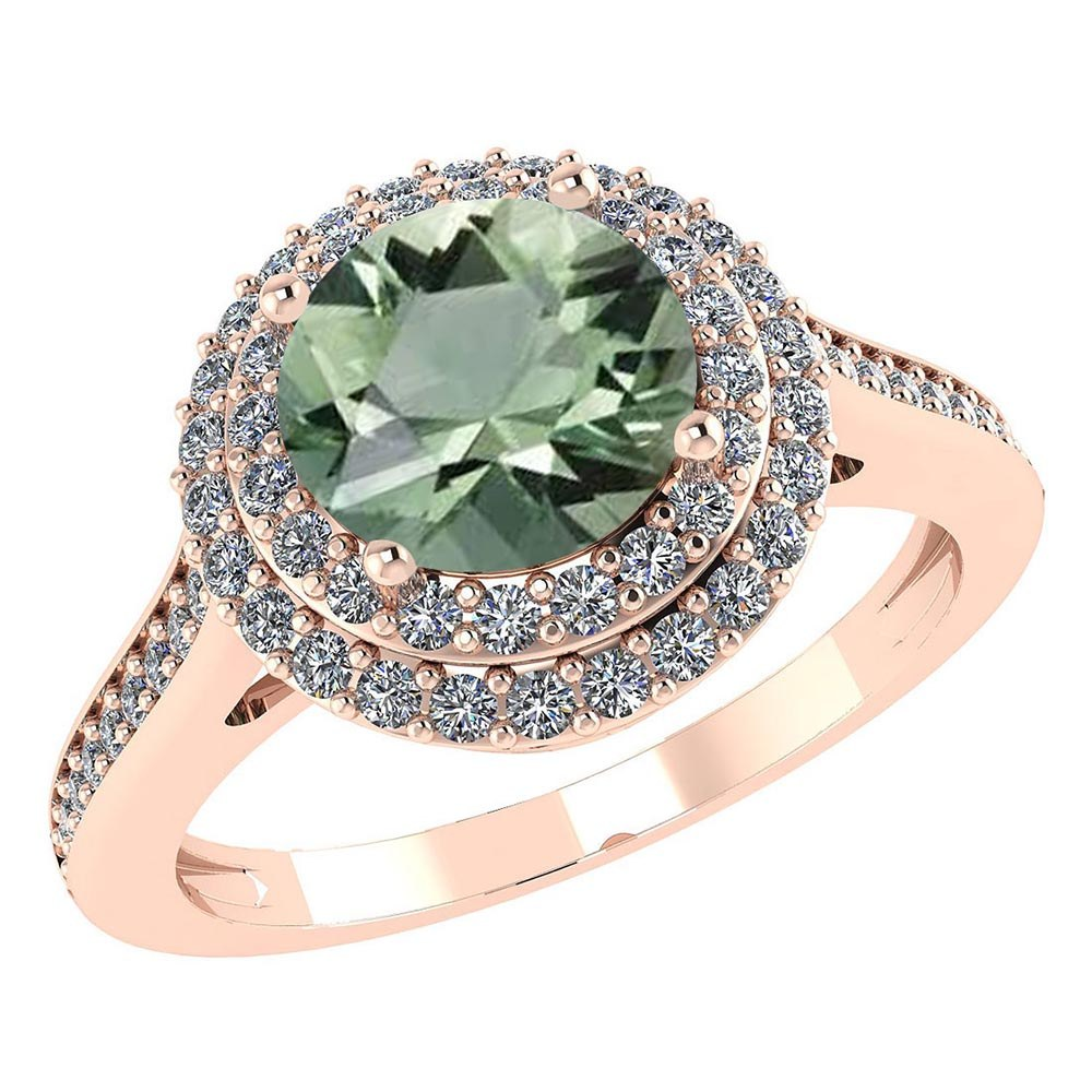 Certified 2.82 CTW Genuine Green Amethyst And Diamond 14K Rose Gold Ring #PAPPS91521