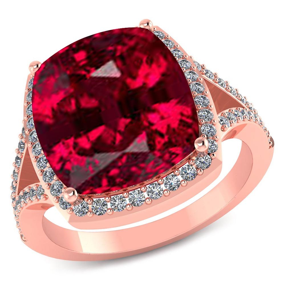 Certified 4.20 CTW Genuine Garnet And Diamond 14K Rose Gold Ring #PAPPS91545