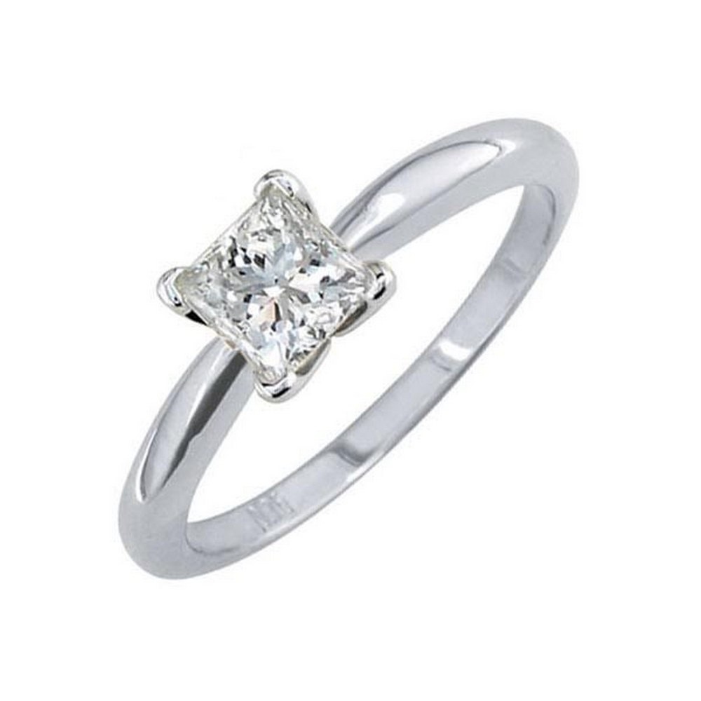 Certified 0.71 CTW Princess Diamond Solitaire 14k Ring D/SI2 #PAPPS84597
