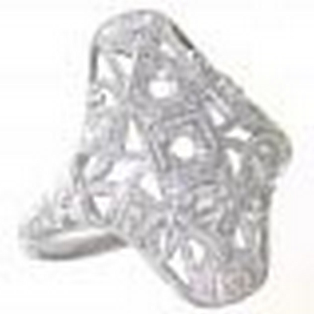 Art Deco Style Three Stone 14kt White Gold Filigree Semi Mount Diamond Ring #PAPPS11326