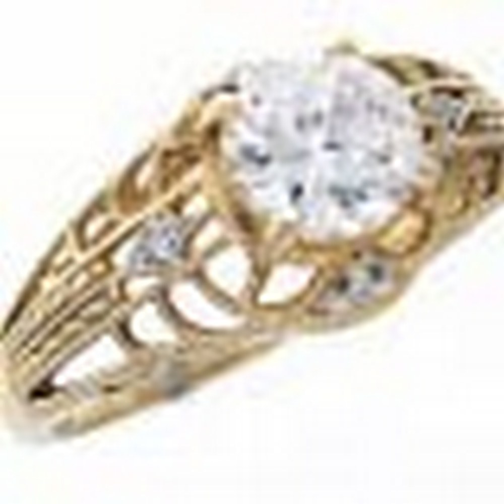 Art Deco CZ and Diamond Filigree Ring - 14kt Yellow Gold #PAPPS11344