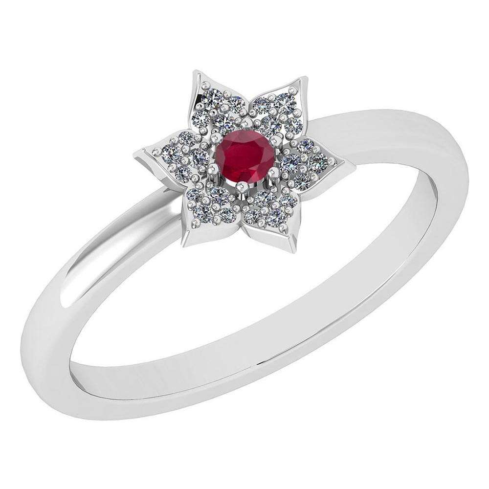 Certified .39 Ctw Genuine Ruby And Diamond 14k White Gold Halo Ring #PAPPS94462