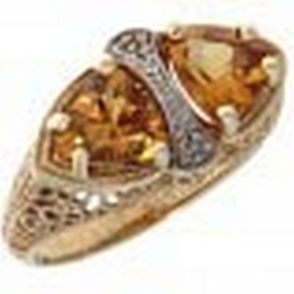 Unique Art Deco Style Citrine Filigree Ring 14kt Yellow Gold #PAPPS11349