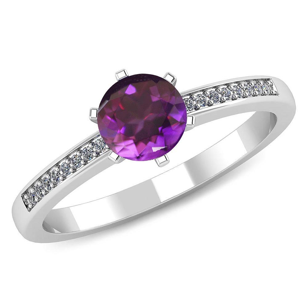 Certified 1.00 CTW Genuine Amethyst And Diamond 14K White Gold Ring #PAPPS91462