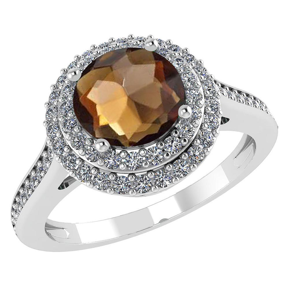 Certified 2.62 CTW Genuine Smoky Quartz And Diamond 14K White Gold Ring #PAPPS91531