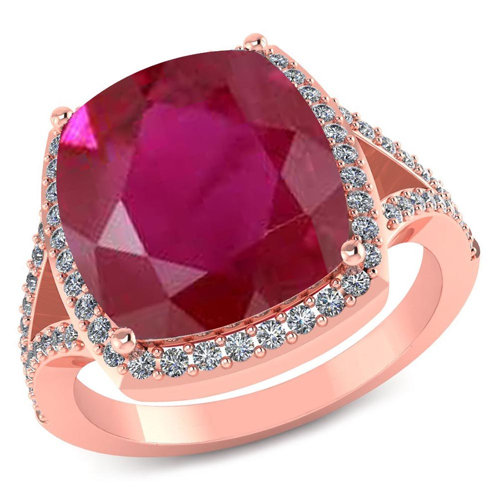 Certified 4.30 CTW Genuine Ruby And Diamond 14K Rose Gold Ring #PAPPS91546