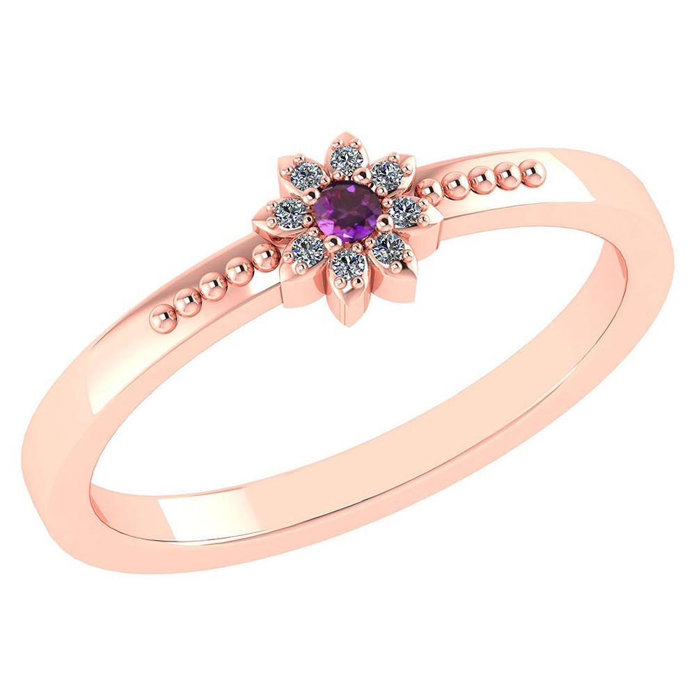 Certified .07 Ctw Genuine Amethyst And Diamond 14k Rose Gold Halo Ring #PAPPS94443