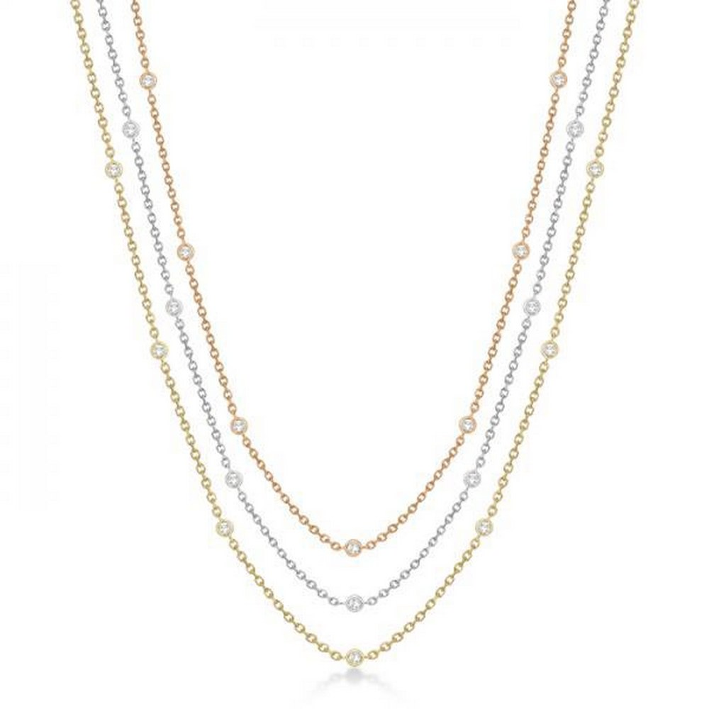 Three-Strand Diamond Station Necklace in 14k Three-Tone Gold (1.40ct) #PAPPS21317