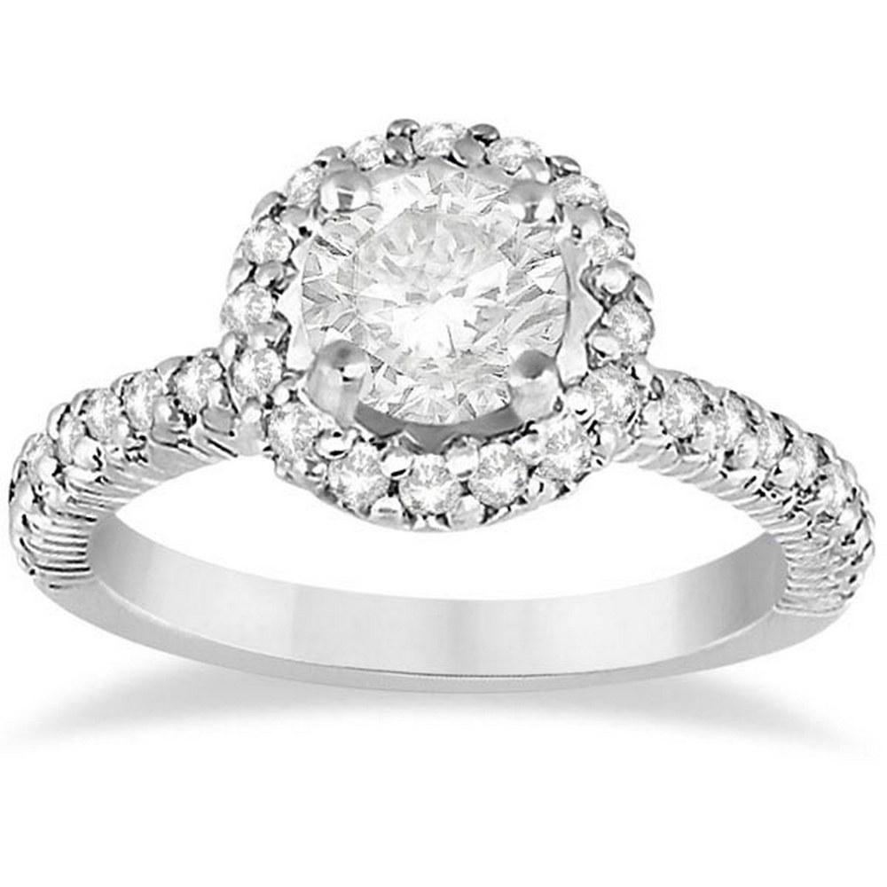 Round Diamond Halo Engagement Ring Platinum (1.35ct) #PAPPS21258