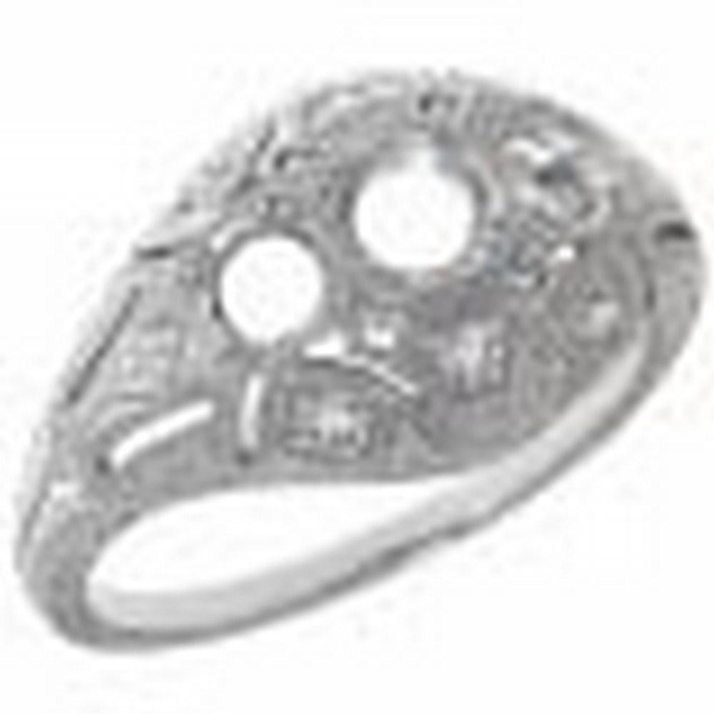 Art Deco Style Three Stone 14kt White Gold Filigree Semi Mount Diamond Ring #PAPPS11324