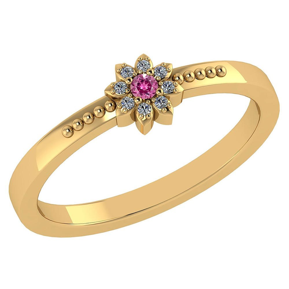 Certified .07 Ctw Genuine Pink Tourmaline And Diamond 14k Yellow Gold Halo Ring #PAPPS94428