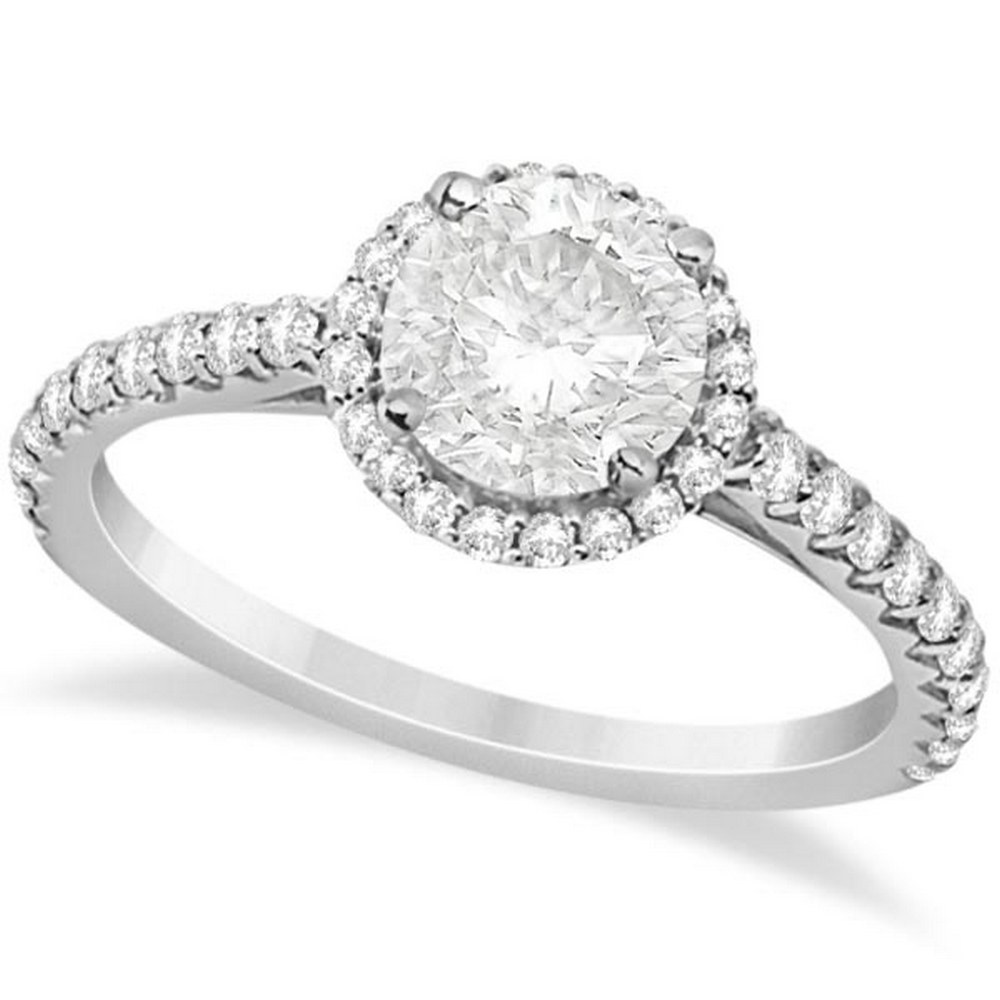Halo Diamond Engagement Ring with Side Stone Accents 14K W. Gold 1.25ctw #PAPPS21200