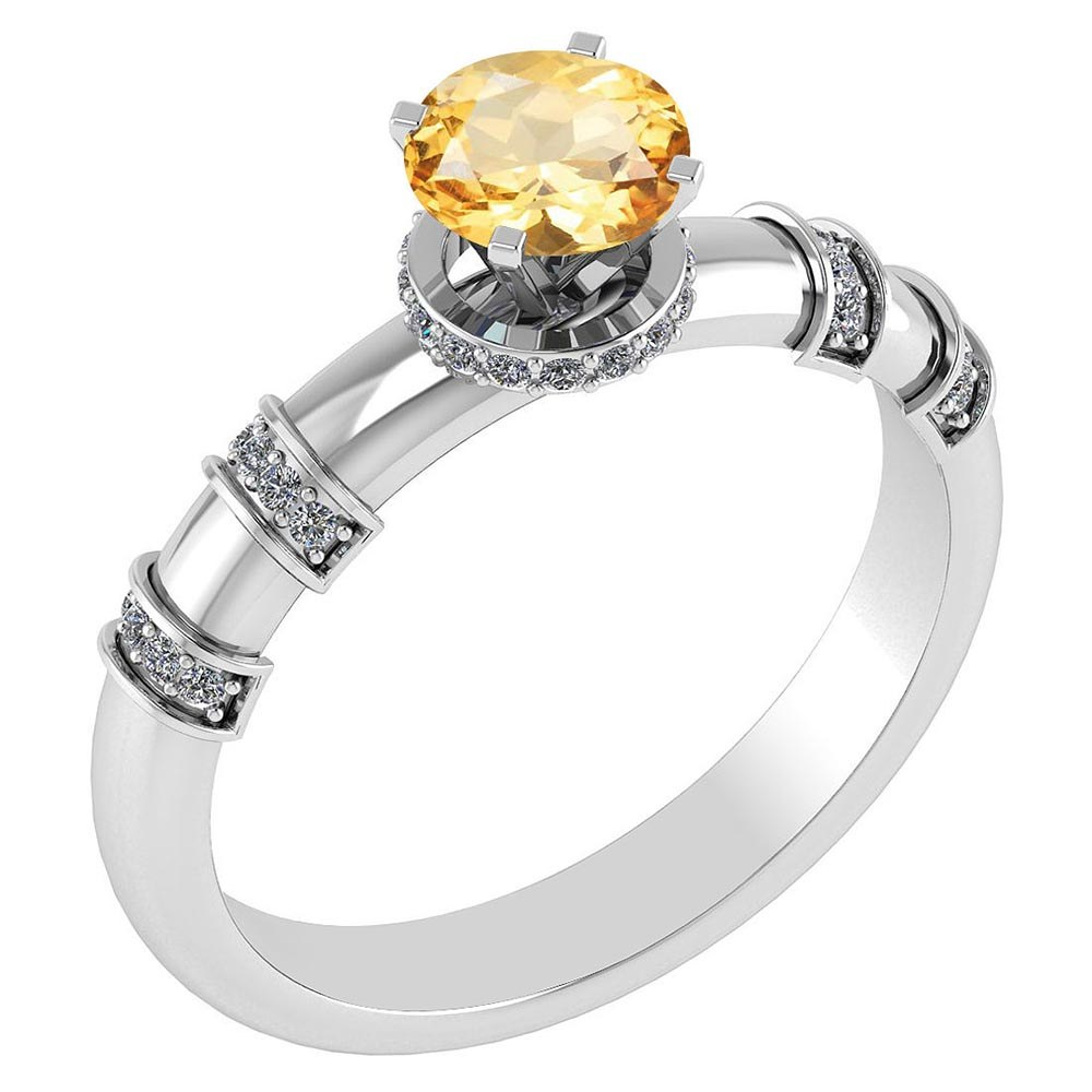 Certified .96 Ctw Genuine Citrine And Diamond 14k White Gold Engagement Ring #PAPPS94578