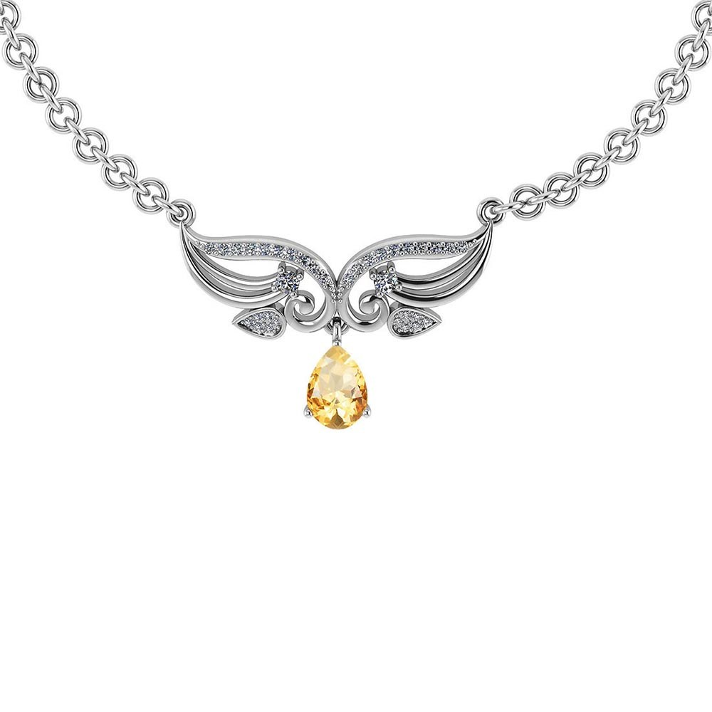 Certified 3.94 Ctw Genuine Citrine And Diamond 14k White Princess Necklace #PAPPS94619