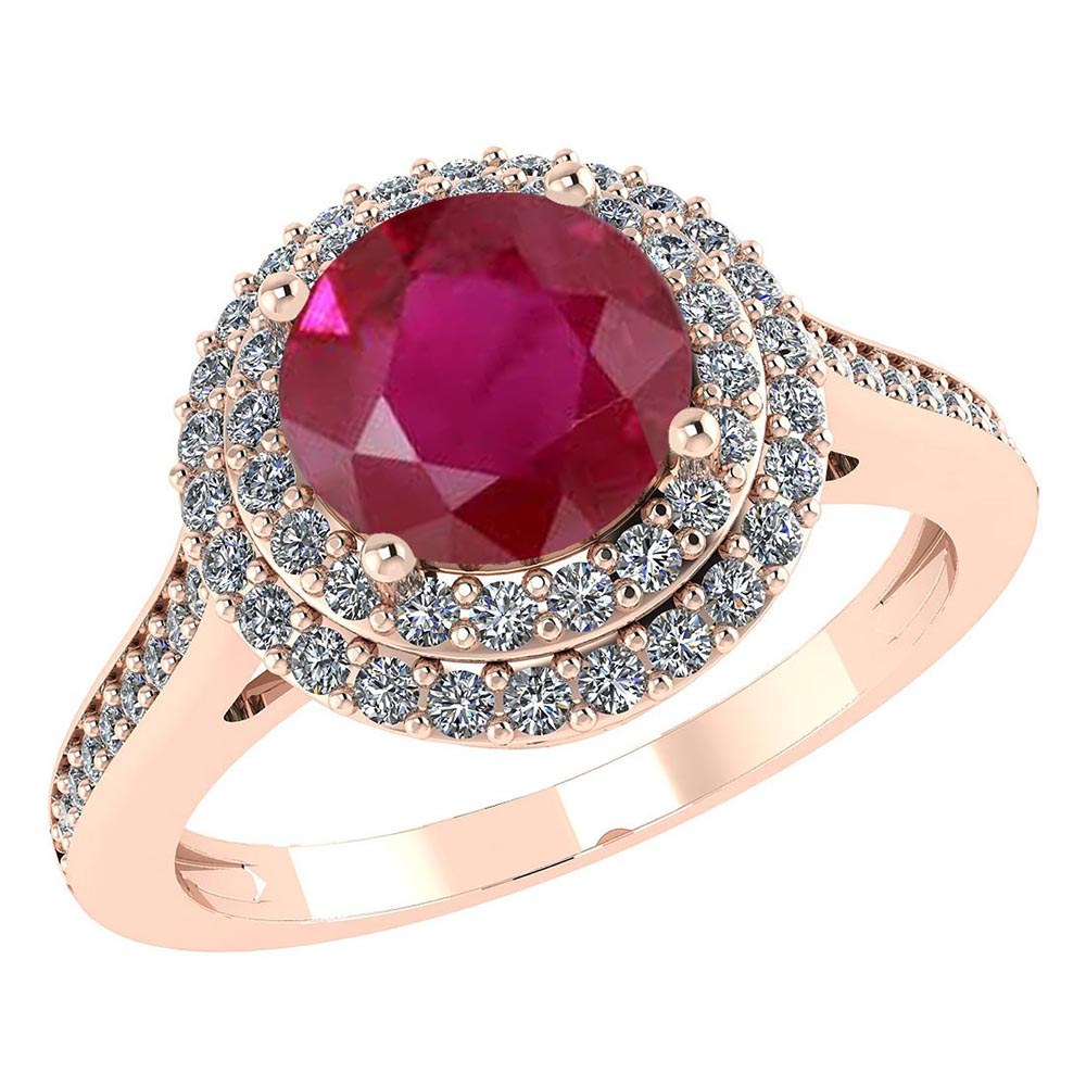 Certified 2.92 CTW Genuine Ruby And Diamond 14K Rose Gold Ring #PAPPS91512