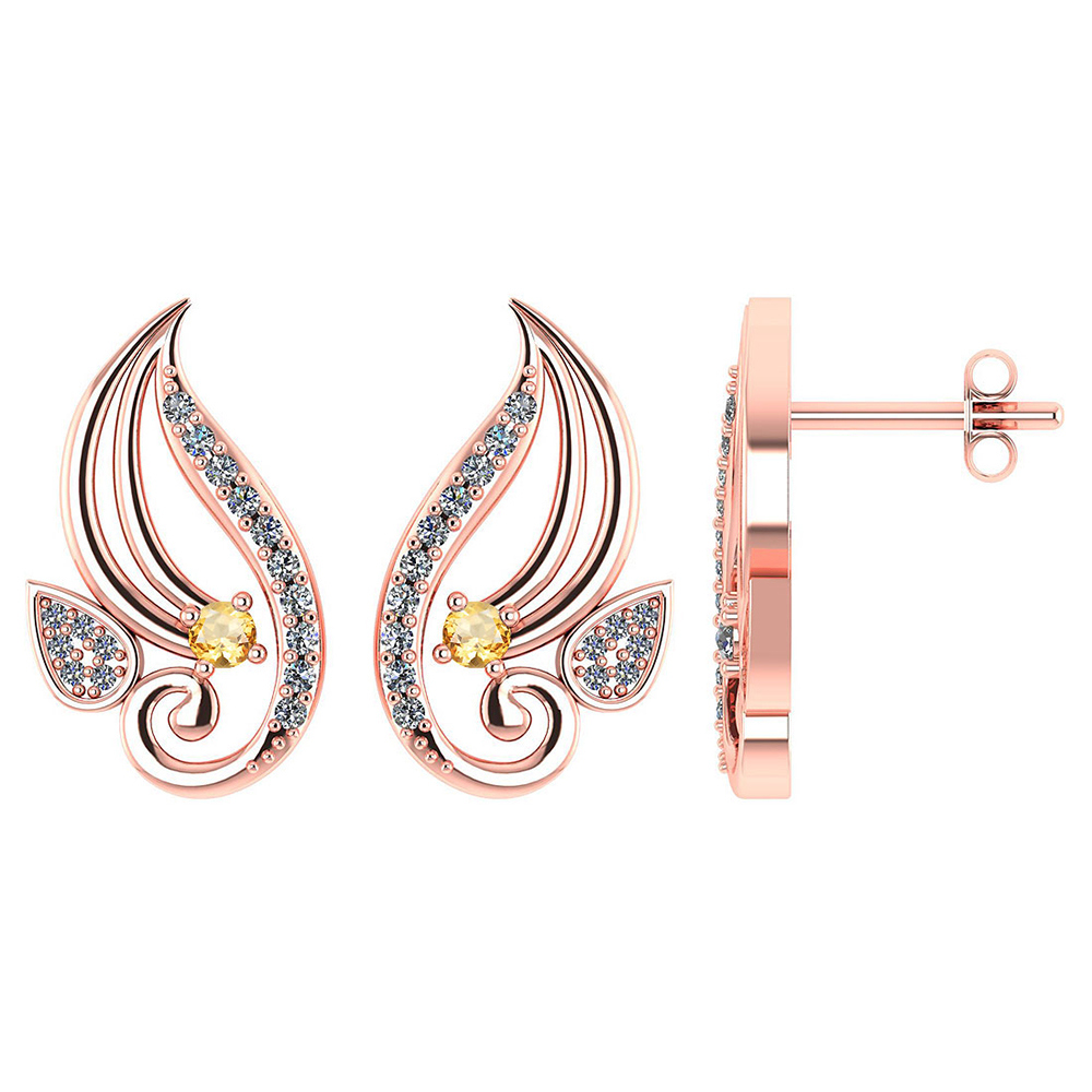 Certified .26 CTW Genuine Citrine And Diamond 14K Rose Gold Stud Earrings #PAPPS93586