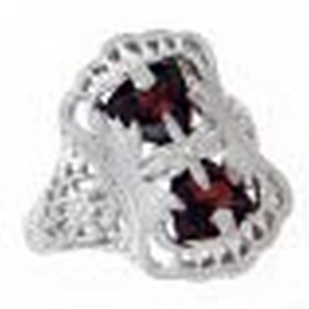 Antique Victorian Style Filigree Garnet Ring Flower Design 14kt White Gold #PAPPS11369