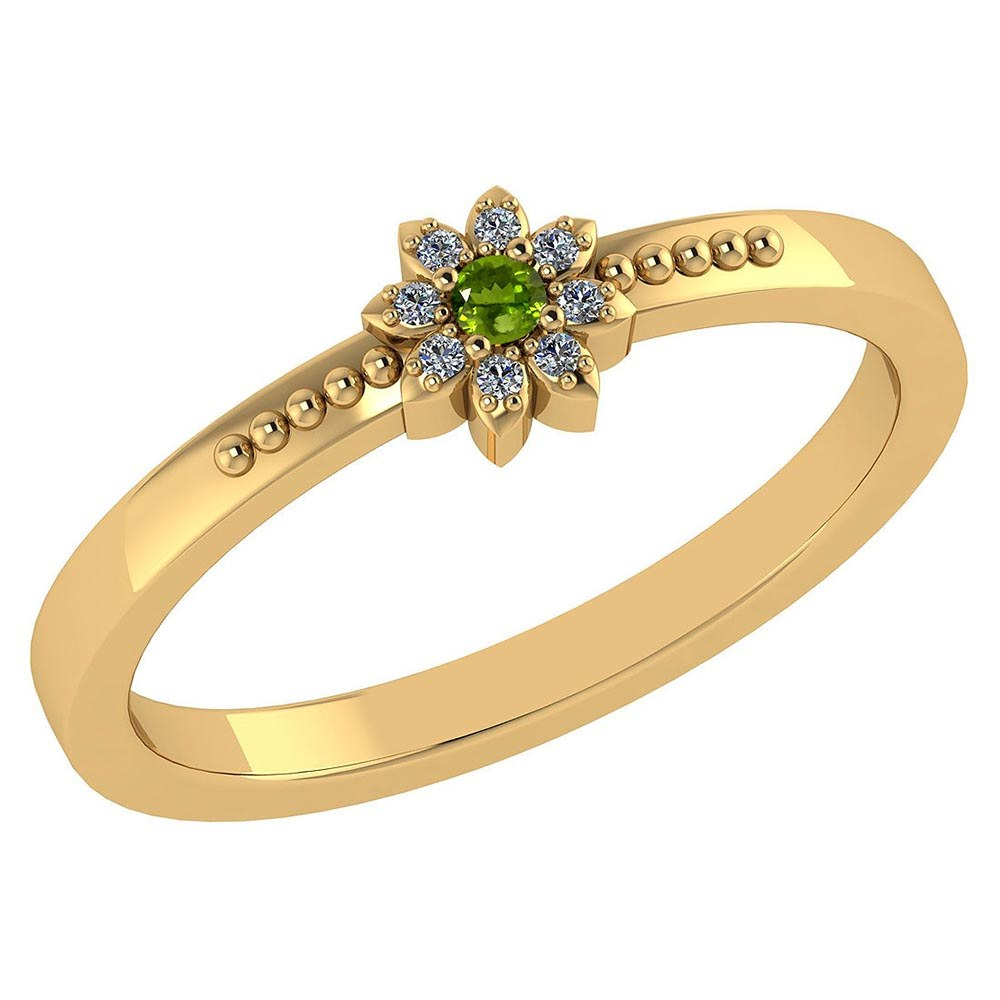 Certified .07 Ctw Genuine Peridot And Diamond 14k Yellow Gold Halo Ring #PAPPS94434