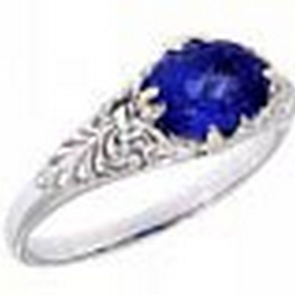 Tanzanite Art Deco Style 14kt White Gold Filigree Ring 6 x 8mm Oval #PAPPS11368
