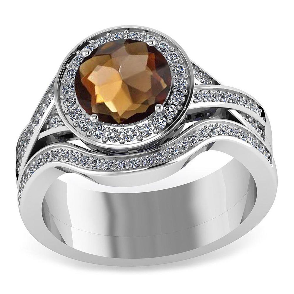 Certified 2.20 CTW Genuine Smoky Quartz And Diamond 14K White Gold Ring #PAPPS91443