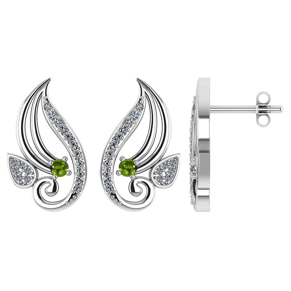 Certified .26 CTW Genuine Peridot And Diamond 14K Yellow Gold Stud Earrings #PAPPS93578
