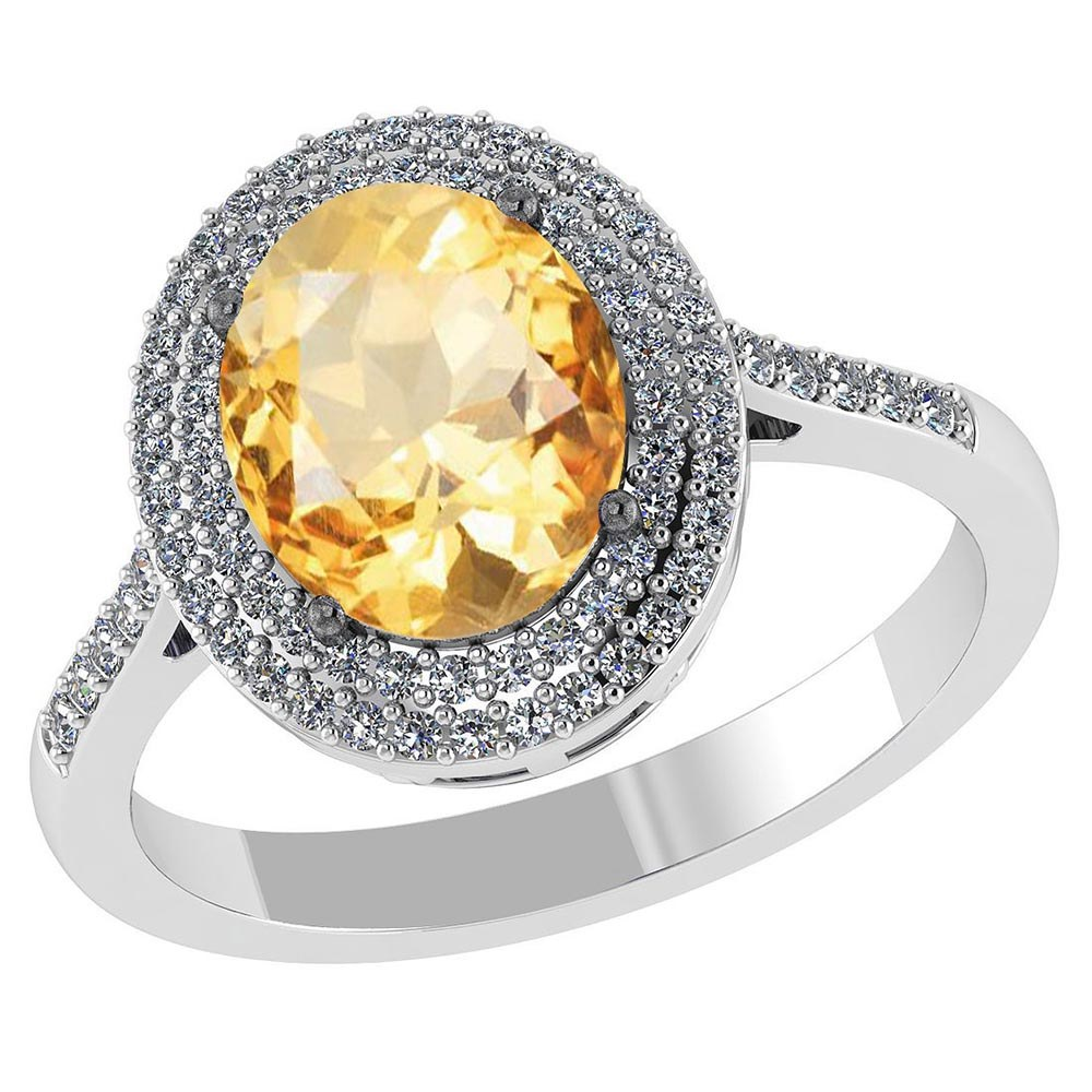 Certified 2.52 CTW Genuine Citrine And Diamond 14K White Gold Ring #PAPPS91508
